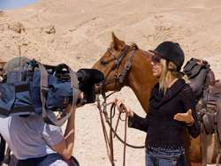 Filming with Lonely Planet TV on a horse trek in the Negev