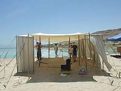 Building the set at the Dead Sea shore