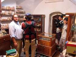Filming at the Antiquities Shop