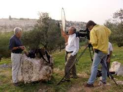 Filming with expert Joe Zias and a marvellous Jerusalem backdrop