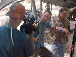 Filming at a 1st century excavation site on Mount Zion with Shimon Gibson