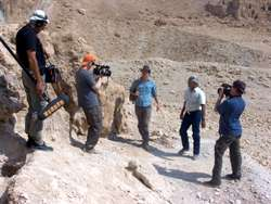 Filming with Jim Barfield at Qumran